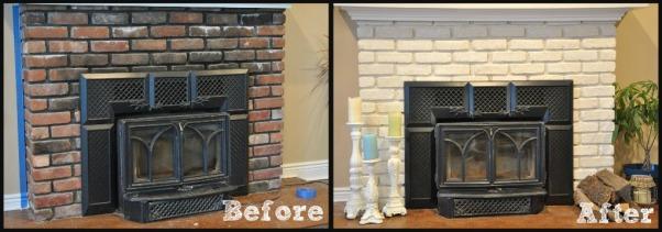 White Brick Fireplace With Black Insert
